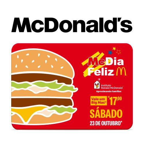 Vale Big Mac McDia Feliz Instituto Ronald McDonalds